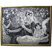 "Antique French Jacquard Stevengraph Woven Silk Picture Of ""Le Fil De La Vierge"", Original Frame"
