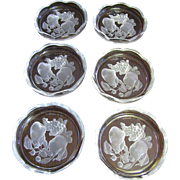 """Set of 6 Val St Lambert 3 1/2"""" Intaglio """"Gardenia"""" Crystal Coasters (up to two sets available)"""