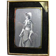 Antique Engraved Print of Curtsying Girl in Eglomised Frame from Bendann's Art Studios of Baltimore