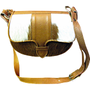 Chic Brown & White Calf Hair Shoulder Bag with Leather Body