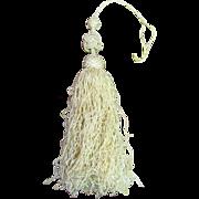 Antique Cream Silk Key Tassel with Long Fringes