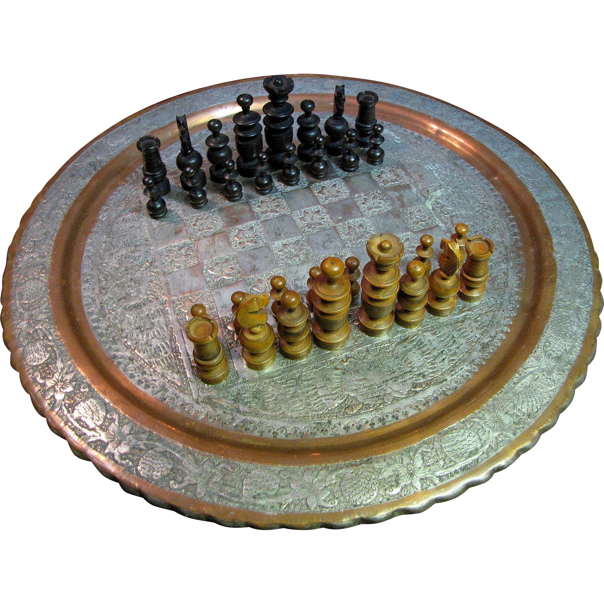 Etonnant Antique Persian Copper Tray Table Top Chess Board : Fay Wray Antiques |  Ruby Lane