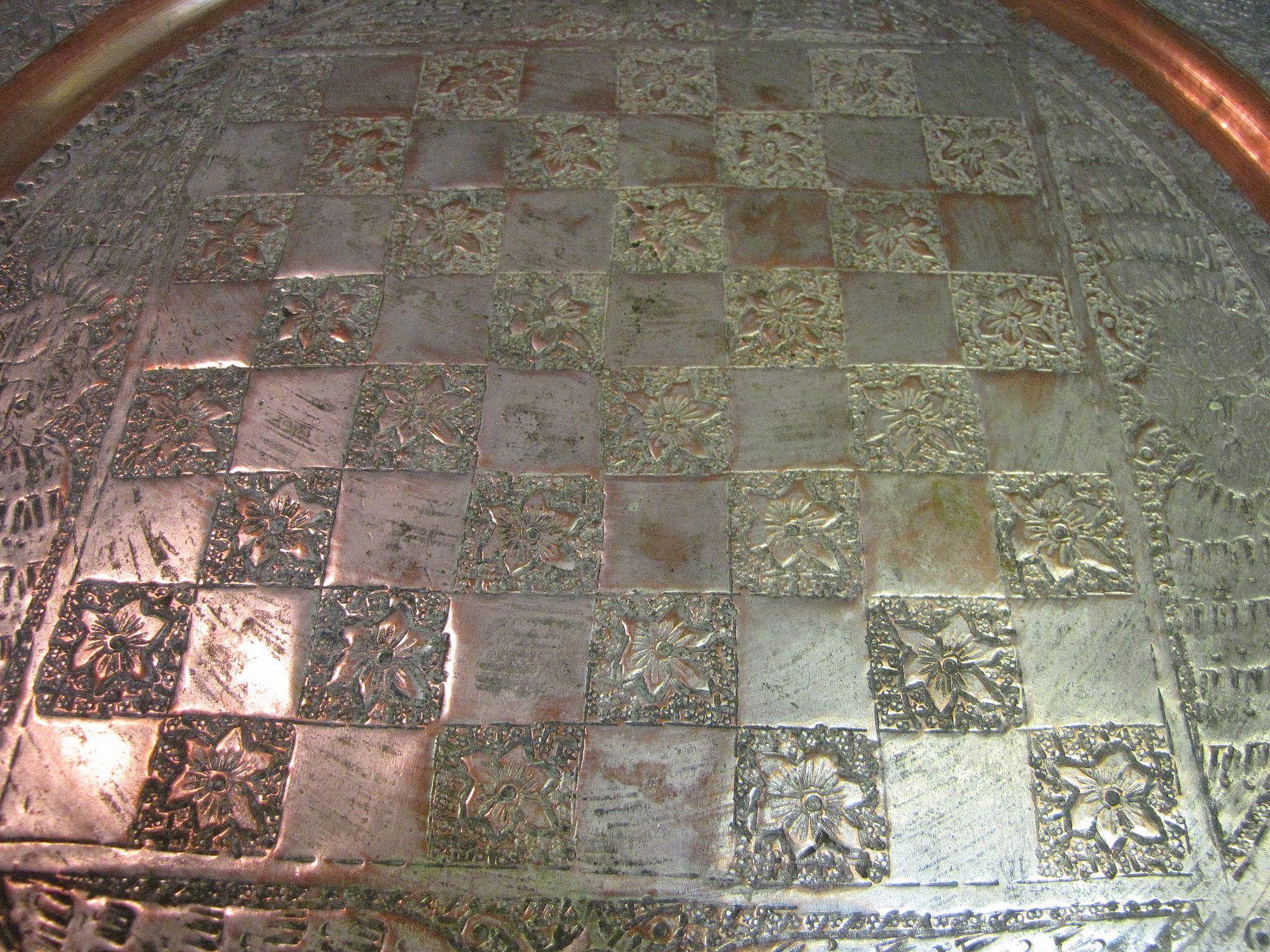 Antique Persian Copper Tray Table Top Chess Board From