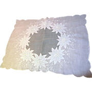 Beautiful Appliqued Batiste Tray Cloth in Pink Linen