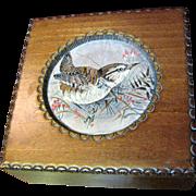 Hand Made Polish Hardwood Box with J & J Cash English Woven Silk Jacquard Bird Picture