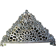 Large 800 German Silver Napkin Holder or Note Holder, Floral Basket
