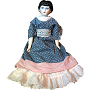 """Darling 1870's Highland Mary, 16"""", Vintage Calico Dress, Shoulder-plate Issue"""