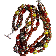 Cloisonne, Cinnabar, Art Glass, Carnelian, Agate, Jasper Torsade Necklace, Beautiful!