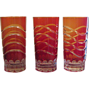 3 Ruby through Orange Graduated Shade Cut-to-Clear Hand Blown Crystal Glasses