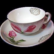 Antique Porcelain Tea Cup & Saucer by Carl Tielsch Altwasser of Germany