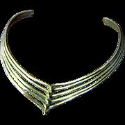 Circa 1980's Sculptural Silvertone Collar Necklace