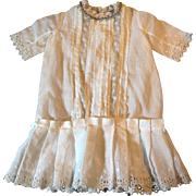 Antique White Linen Lace Embroidered Dress for Medium Doll