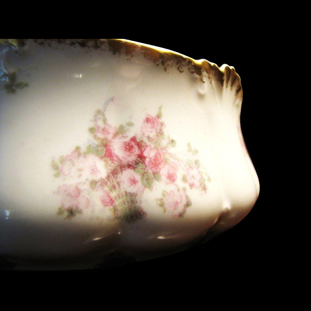 French Limoges Antique Salad Bowl w/ Roses & Gilding