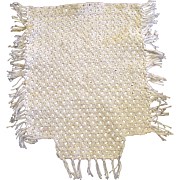 Tiny Hand Crochet Fringed Doll House Bed Coverlet