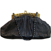Elegant Whiting & Davis Black Mesh Rhinestone Jeweled Evening Bag with Coin Purse & Mirror