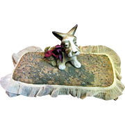 For Harris, Jan. Circa 1940's Whimsical Terrier Dog Large Pin Cushion
