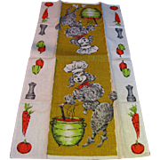 Poodle Chef 1960's Linen Tea Towel