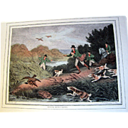 "1834 ""Duck-Hunting"" Hand Colored Engraving After Samuel Howitt (one of four antique Howitt hunting prints available)"