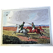 """1834 """"Heron-Hawking"""" Hand Colored Engraving After Samuel Howitt (one of four antique Howitt hunting prints available)"""