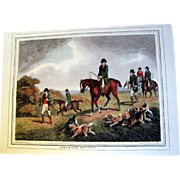 "1834 ""Partridge-Hawking"" Hand Colored Engraving After Samuel Howitt (one of four antique Howitt hunting prints available)"