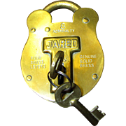 Vintage JARED Old English #8 Admiralty Solid Brass Padlock with 2 Keys
