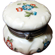 "Tiny 2 1/4"" Antique Wavecrest Floral Enamel Decorated Ladies Dresser Box, Sweet Form!"