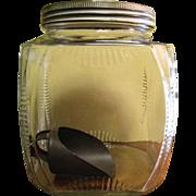 1930's Large Hoosier Jar - Pressed Glass, Storage, Cookie Jar with Tin Scoop