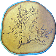 "Large Clay Pottery Wall Plate ""Creosote Bush"" by Judy"