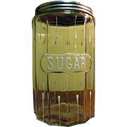 Circa 1920s Sugar Storage Jar Hoosier Ribbed Glass Canister