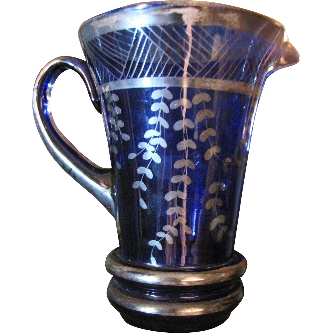 Antique Venetian Glass Cobalt Pitcher with Sterling Gondola Overlay