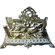 Antique Bradley & Hubbard Hunt Scene Ornate Desk Top Letter Holder