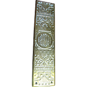 Antique Cast Brass Door Push Plate With Ornate Floral Decoration
