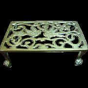 Antique English Victorian Reticulated Brass Trivet Footman, Pretty Bird Design