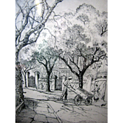 Elizabeth O'Neill Verner Charleston Street Scene Pencil Signed Lithographic Print, Framed