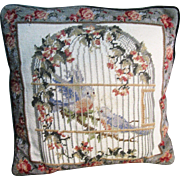 Harris - Sweet Wool Needlepoint Pillow, Birds in a Victorian Cage