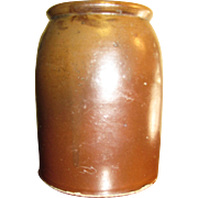1850's Alkaline Glaze Stoneware Fruit Canning Pottery Jar (wax seal) 1 qt.