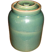 Scarce Antique Green Salt Glazed Stoneware Pantry Storage Jar with Lid