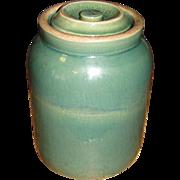 Scarce Antique Green Salt Glazed Stoneware Pantry Storage Jar with Lid