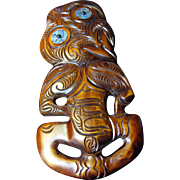 "Large 17"" Hand Carved Traditional Maori Tiki Mask Wall Sculpture"