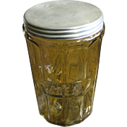 "Circa 1930's Ribbed Glass Storage Canister with Etched ""Cereal"", Tin Lid"