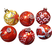 Six Circa 1970's West German Retro Hand Blown Tree Ornaments