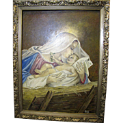 Vintage Madonna & Child Oil Painting by Donna Smieja