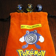 Pokemon Marble Bag with 11 Pokemon Marbles