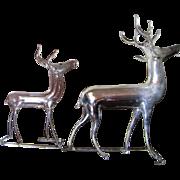 2 Vintage German Mercury Glass Christmas Reindeer Ornaments