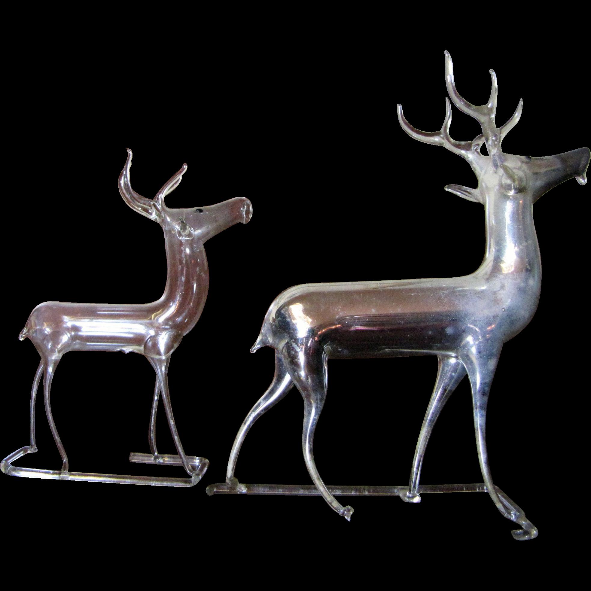 2 Vintage German Mercury Glass Christmas Reindeer Ornaments : Fay ...