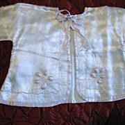 Darling Tiny Vintage Blue Satin Baby  Jacket