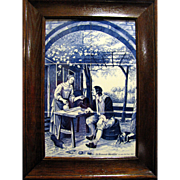 "Framed Delft Hand Painted Tiles 23"" Panel ""De Vermoeide Wandelaar"" after Jan Steen"
