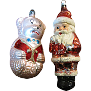 Fun Pair of Vintage Figurative Ornaments, Santa and Bear