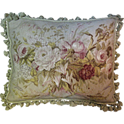 "Huge 24"" by 18"" French Aubusson Style Tasseled Pillow in Wool Petite Point"