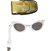 1950's Rhinestone Cats-eye Folding Lorgnette Opera Glasses with Original Case